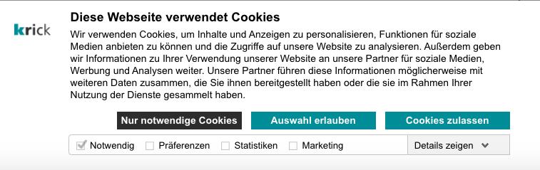 Cookie-Banner Krick