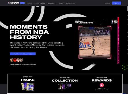 Ausschnitt aus der NBA Top Shot Webseite