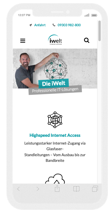 iWelt Webseite im Responsinator